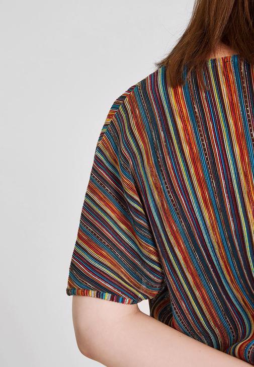 Çizgi Desenli Bluz ve Pantolon Kombini