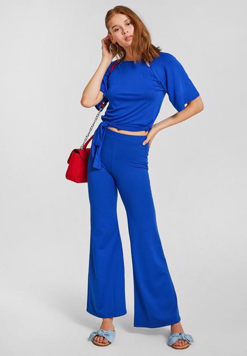 Lacivert Pantolon ve Bluz Kombini