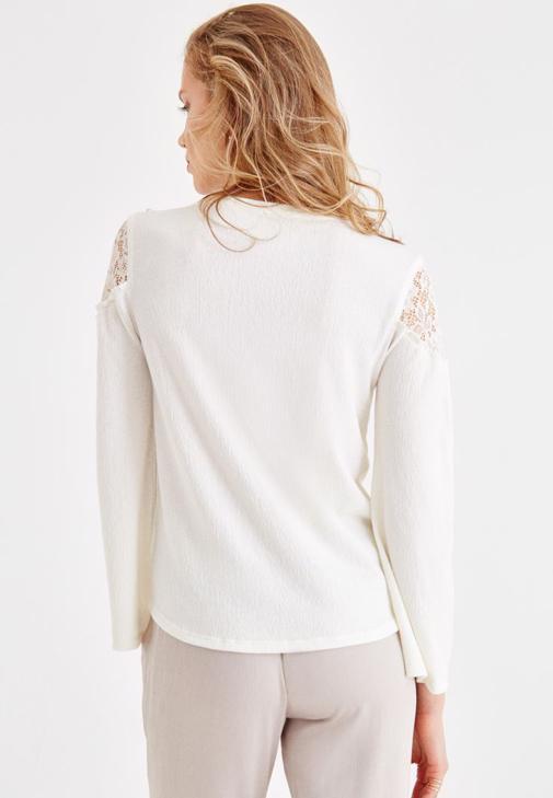 Krem Pantolon ve Dantel Detaylı Bluz Kombini
