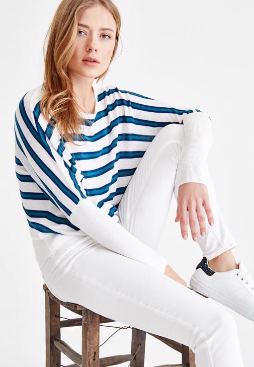 Çizgili Triko ve Beyaz Pantolon Kombini