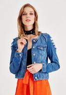 Yırtık Detaylı Jean Ceket