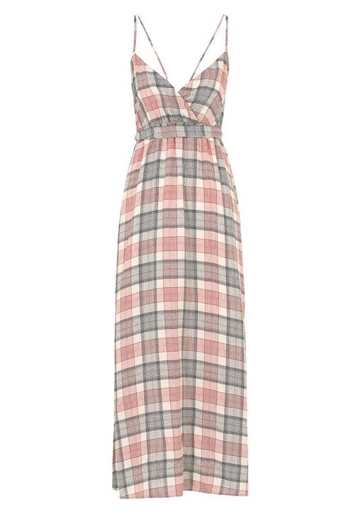 Ekose Desenli Uzun Elbise Kombini