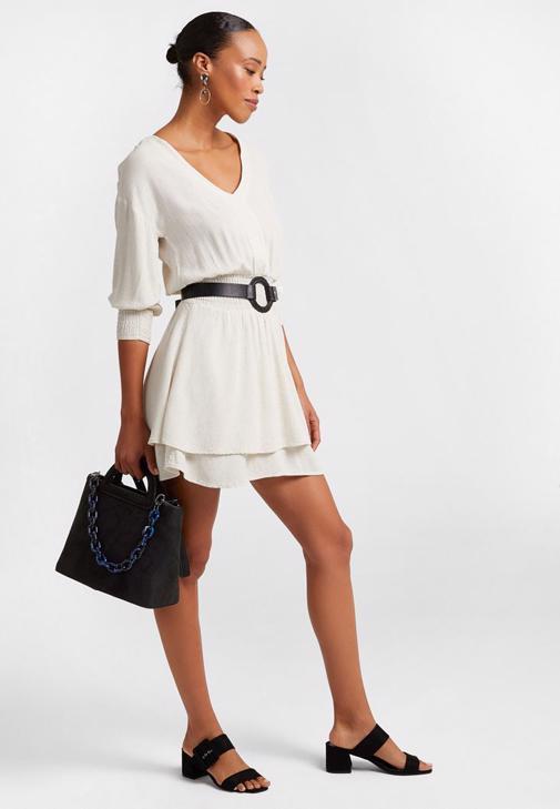 Beli Büzgülü Mini Elbise Kombini