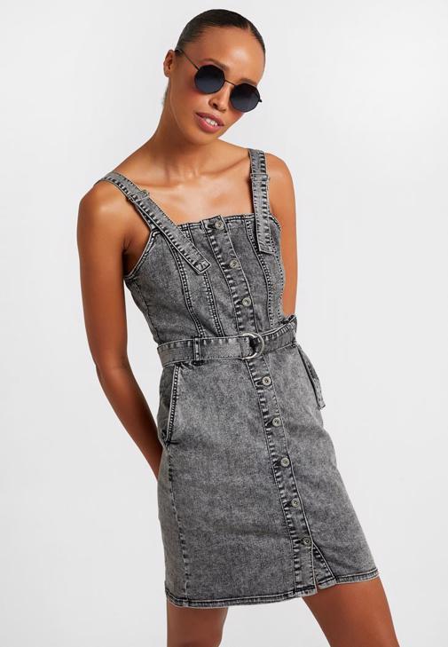 Mini Denim Elbise Kombini
