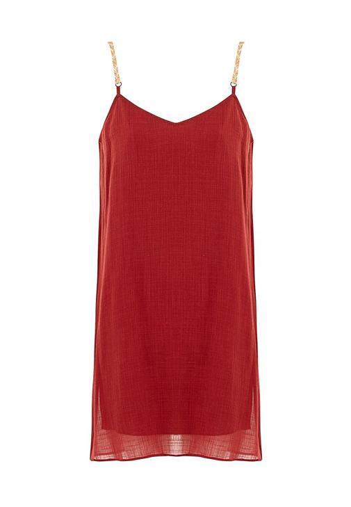 Askı Detaylı Mini Elbise Kombini