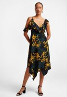 Çiçek Desenli Volanlı Elbise Kombini