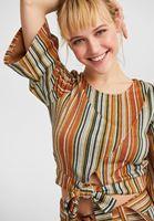 Bağlama Detaylı Bluz ve Flare Paça Pantolon Kombini