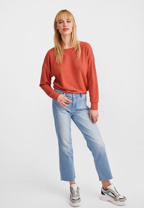 Uzun Kollu Basic ve Denim Pantolon Kombini
