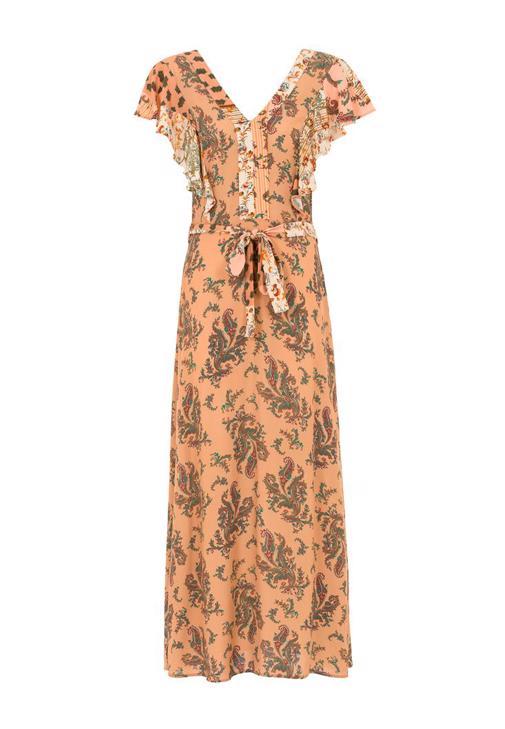 Desenli Uzun Elbise Kombini