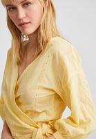 Kruvaze Yaka Bluz ve Uzun Etek Kombini