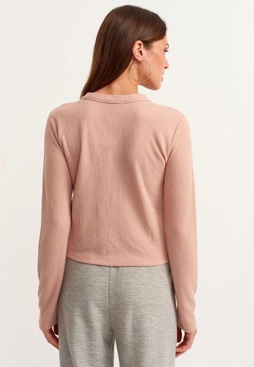 Bağlama Detaylı Bluz ve Pantolon Kombini