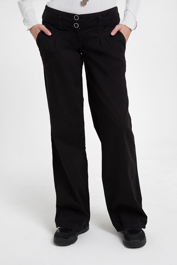 Black Low Rise Trousers with Buttons