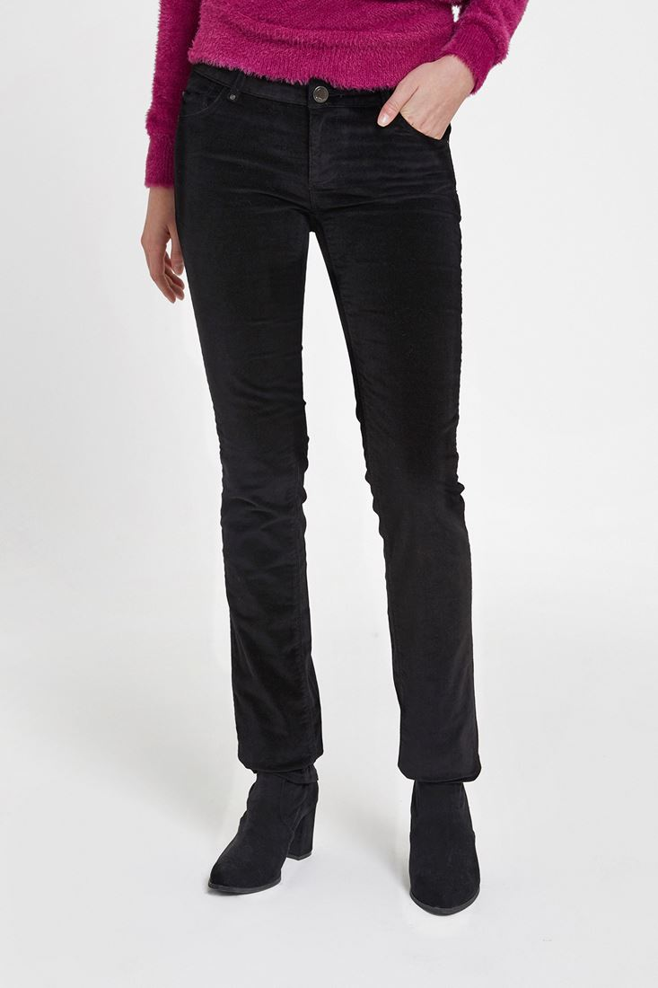 Siyah Düşük Bel Kadife Pantolon