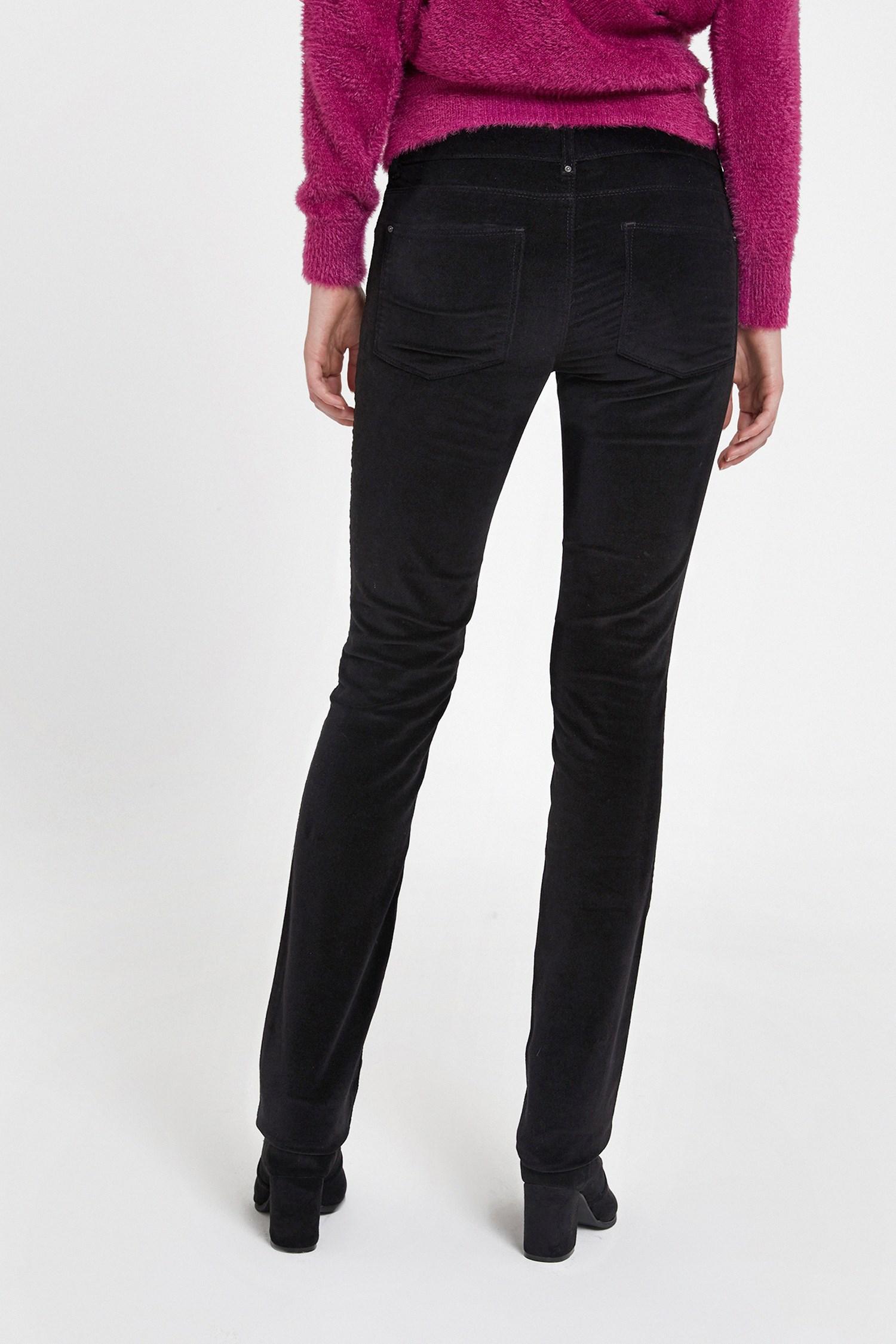 Bayan Siyah Düşük Bel Kadife Pantolon
