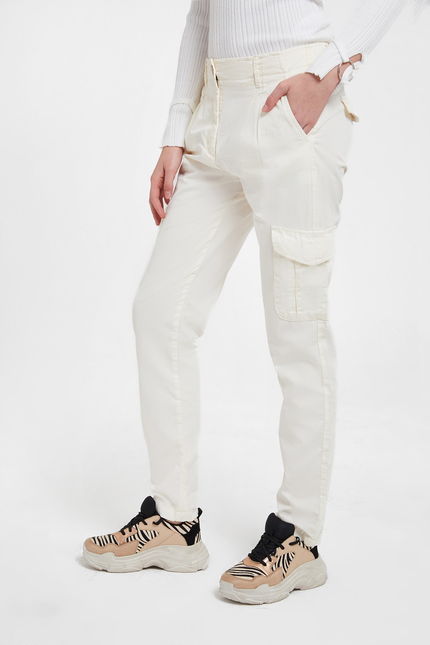 Bayan Kahverengi Düşük Bel Kargo Pantolon