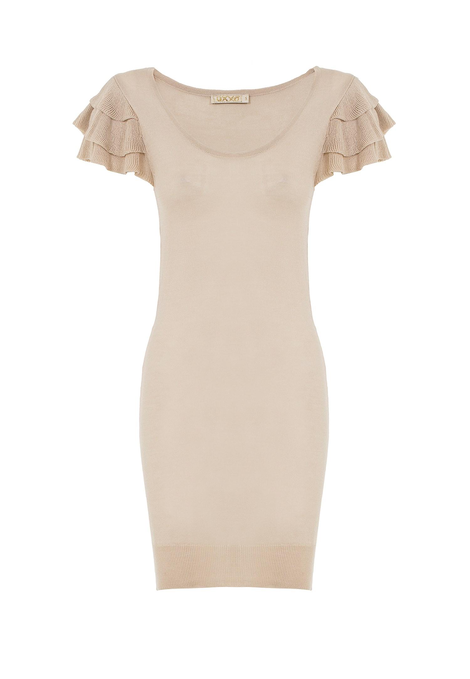 Bayan Kahverengi Kolları Fırfır Detaylı Triko Elbise