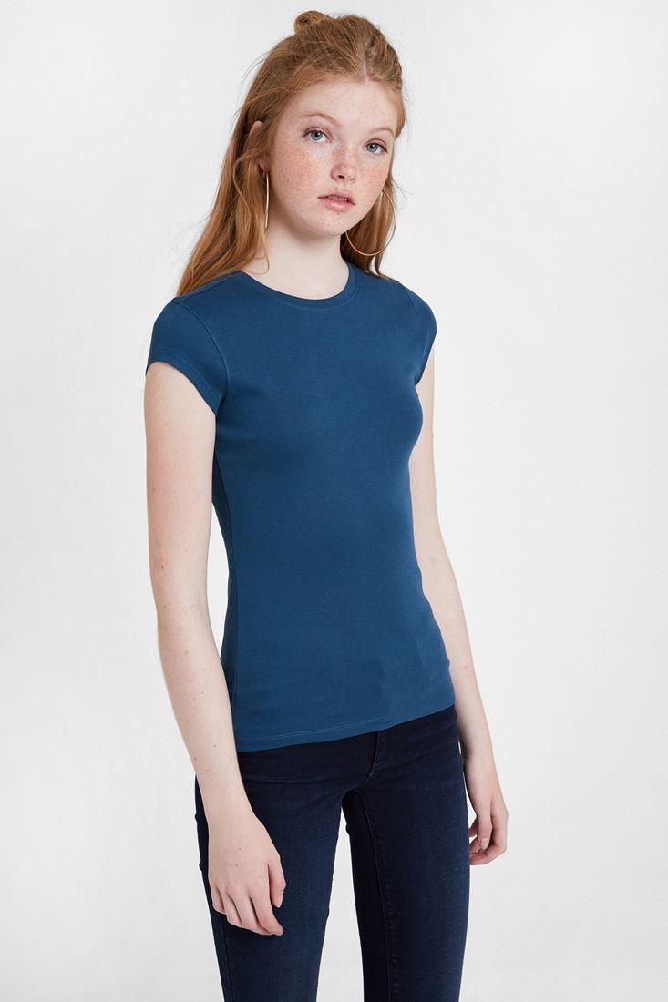 Mavi Yuvarlak Yaka Pamuk Tişört