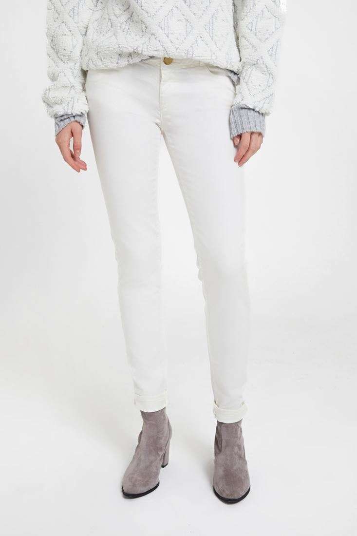 Cream Low Rise Skinny Trousers