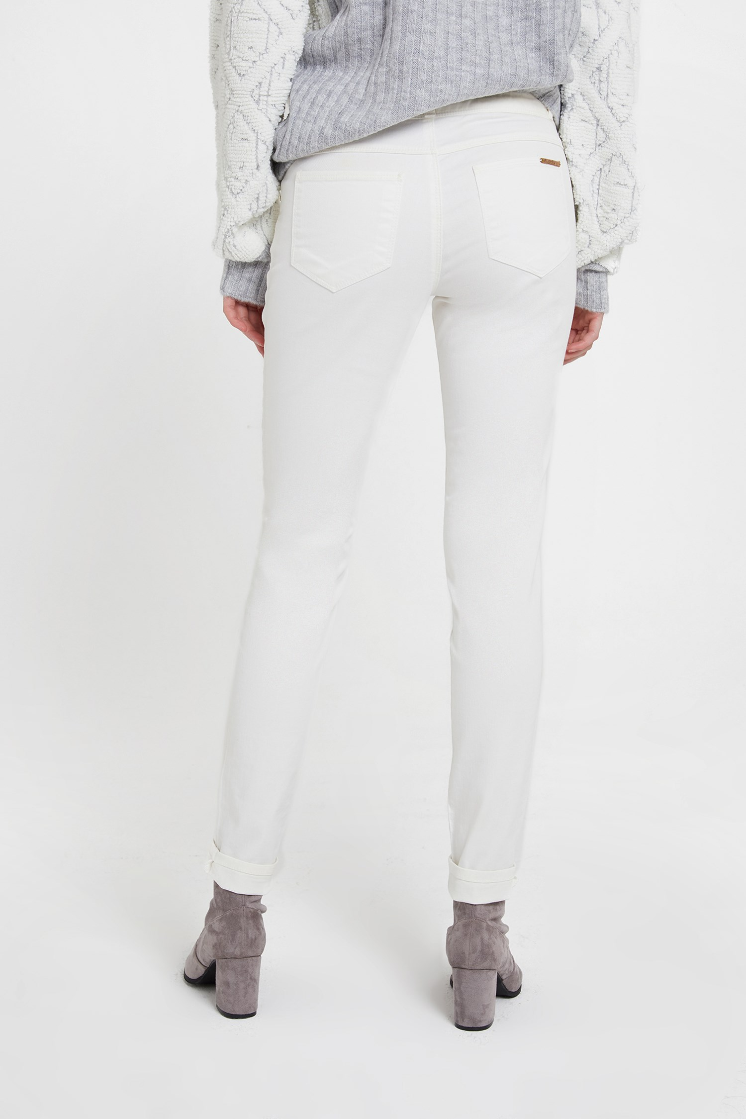 Women Cream Low Rise Skinny Trousers