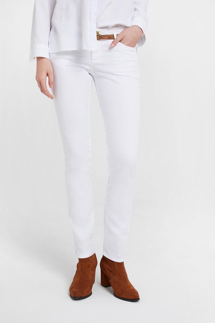 Beyaz Düşük Bel Kemer Detaylı Pantolon