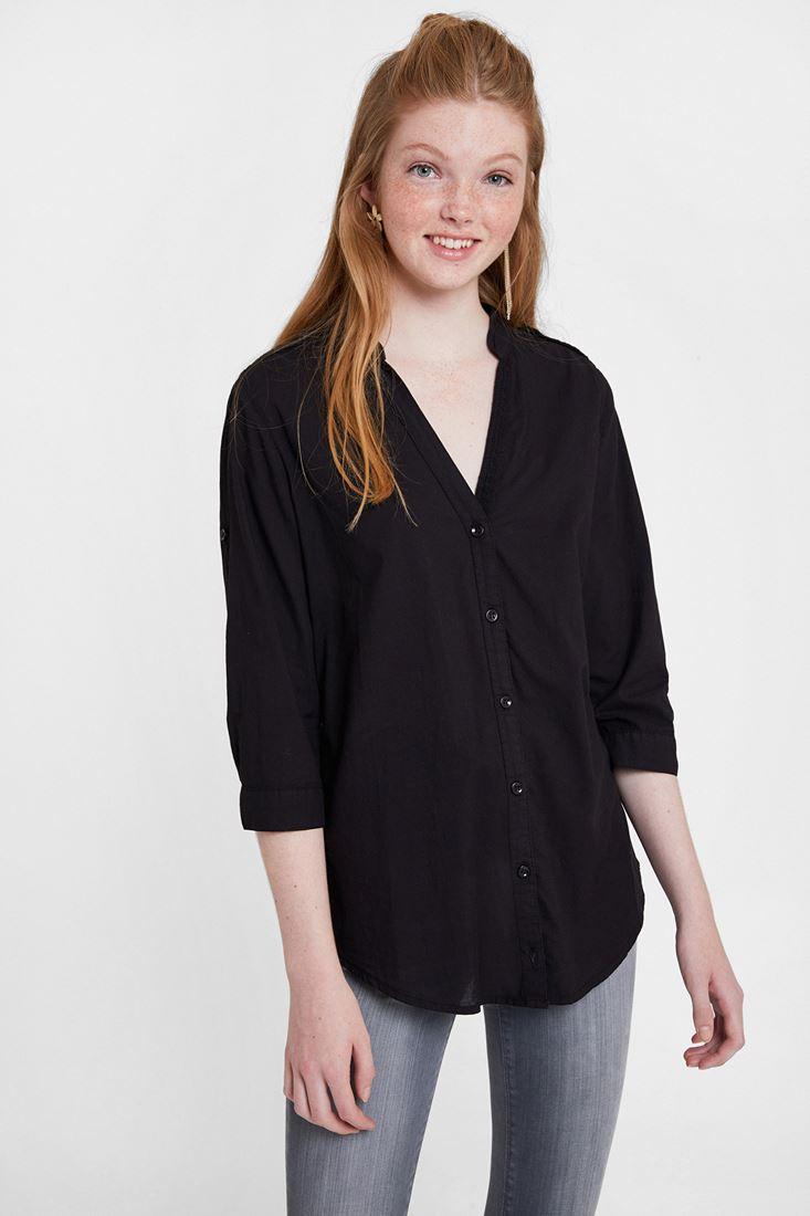 Siyah Kol Detaylı Gömlek