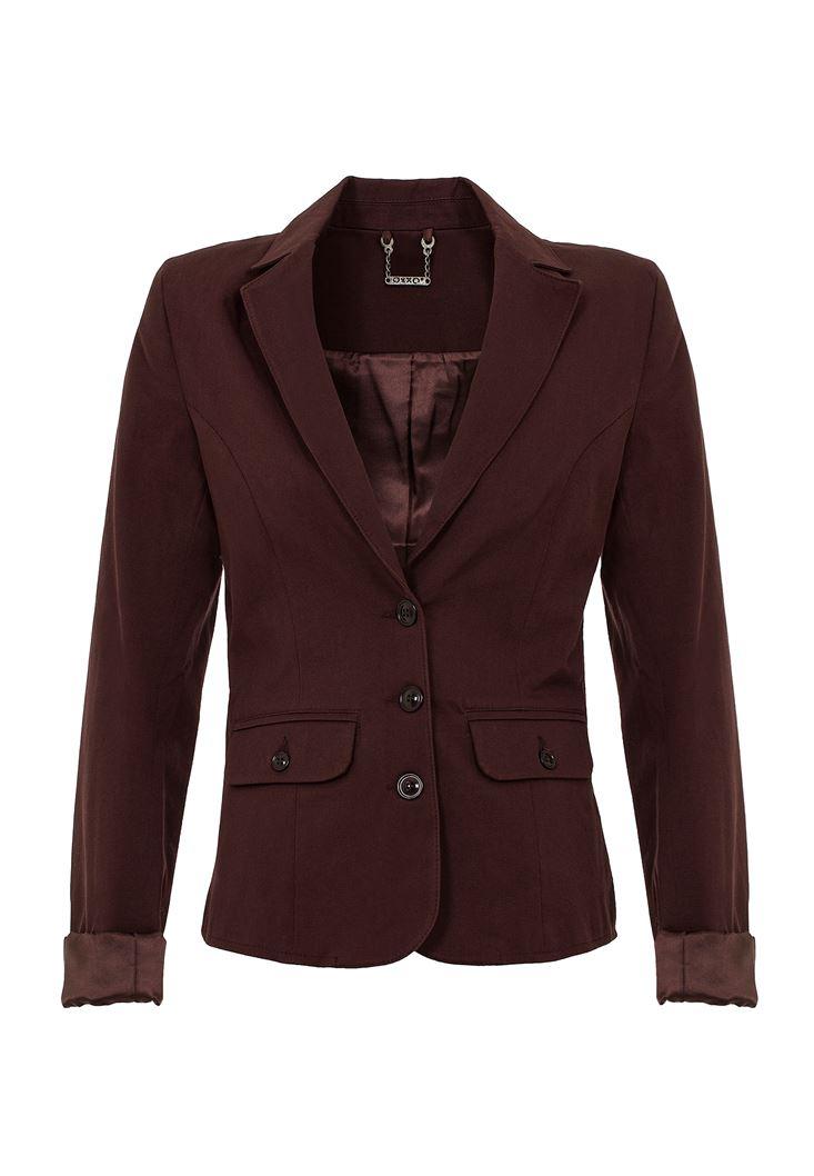 Kahverengi Düğme Detaylı Ceket