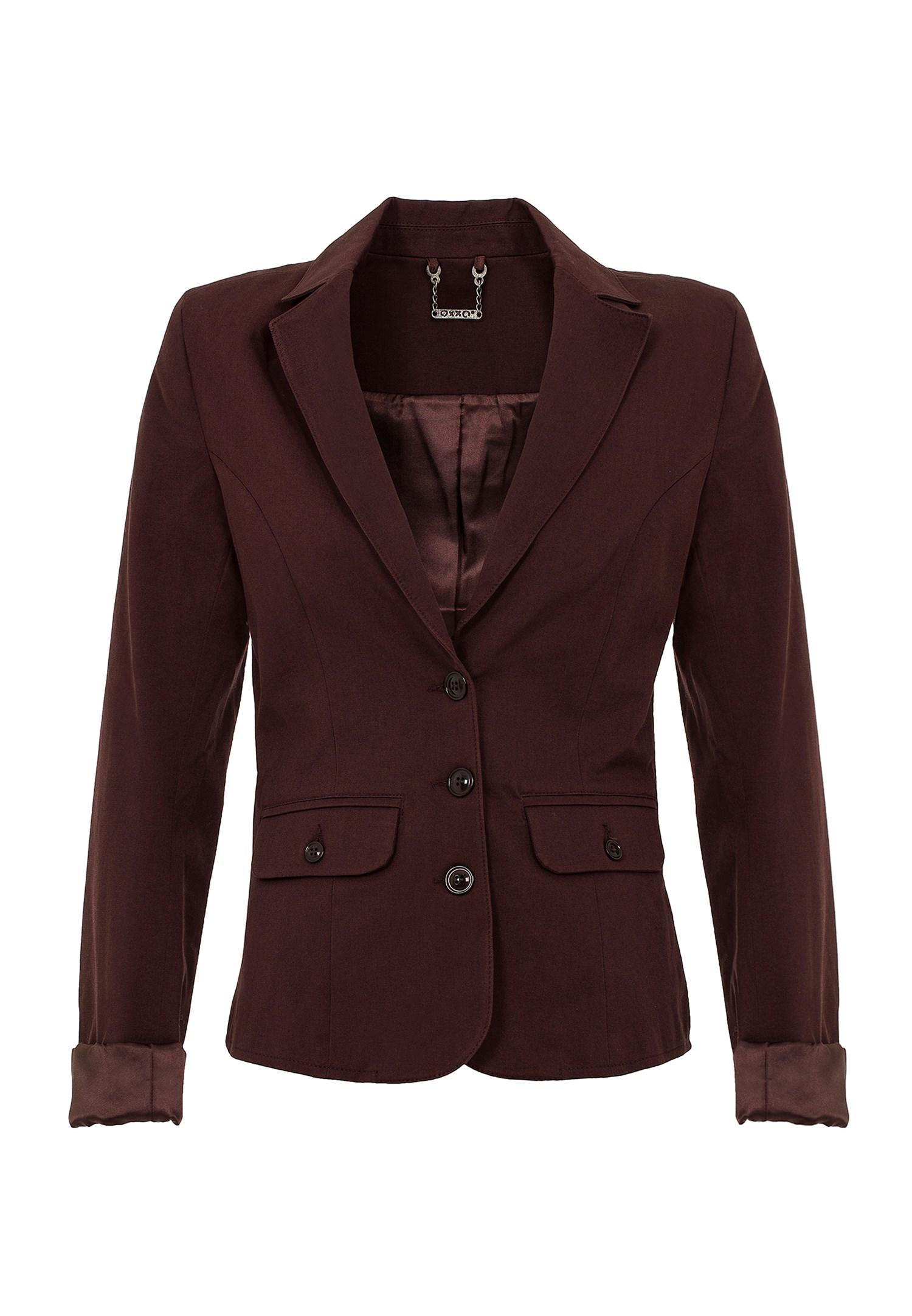 Bayan Kahverengi Düğme Detaylı Ceket