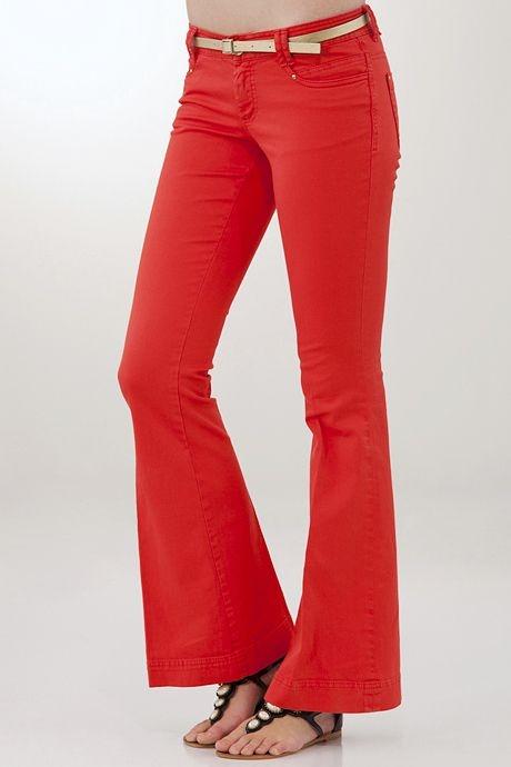 Kırmızı Düşük Bel Geniş Paça Pantolon