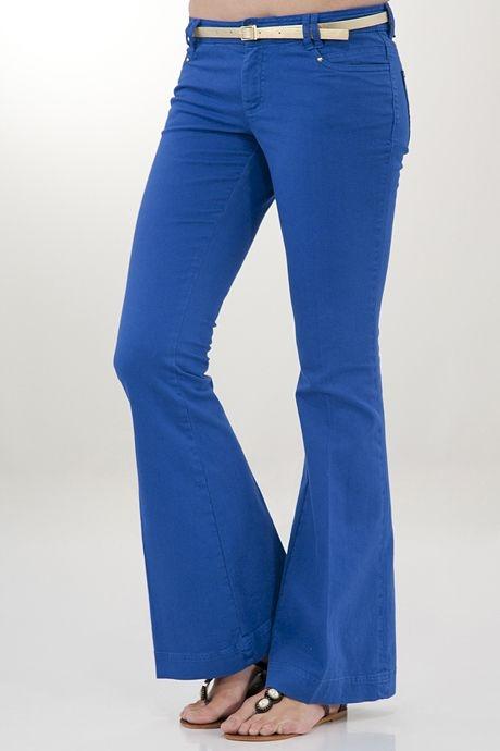 Mavi Düşük Bel Geniş Paça Pantolon