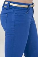 Bayan Mavi Düşük Bel Geniş Paça Pantolon
