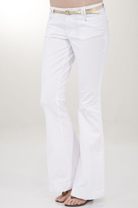 Beyaz Düşük Bel Geniş Paça Pantolon