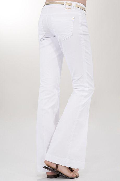 Bayan Beyaz Düşük Bel Geniş Paça Pantolon