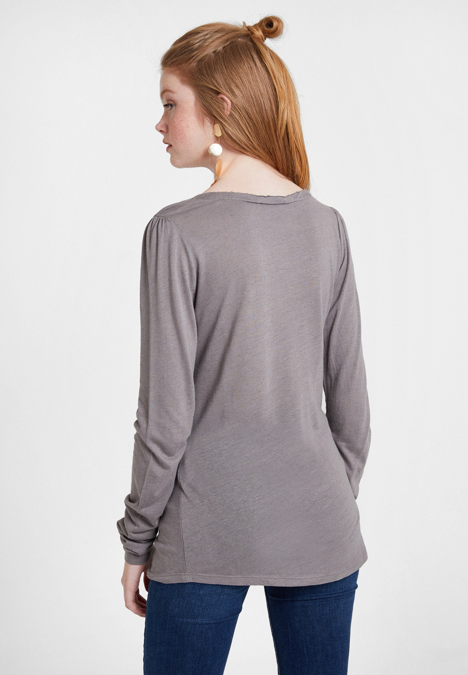 Bayan Gri Uzun Kollu Dantel Detaylı Bluz