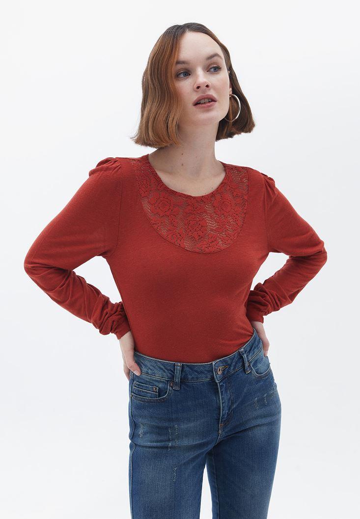 Kırmızı Uzun Kollu Dantel Detaylı Bluz