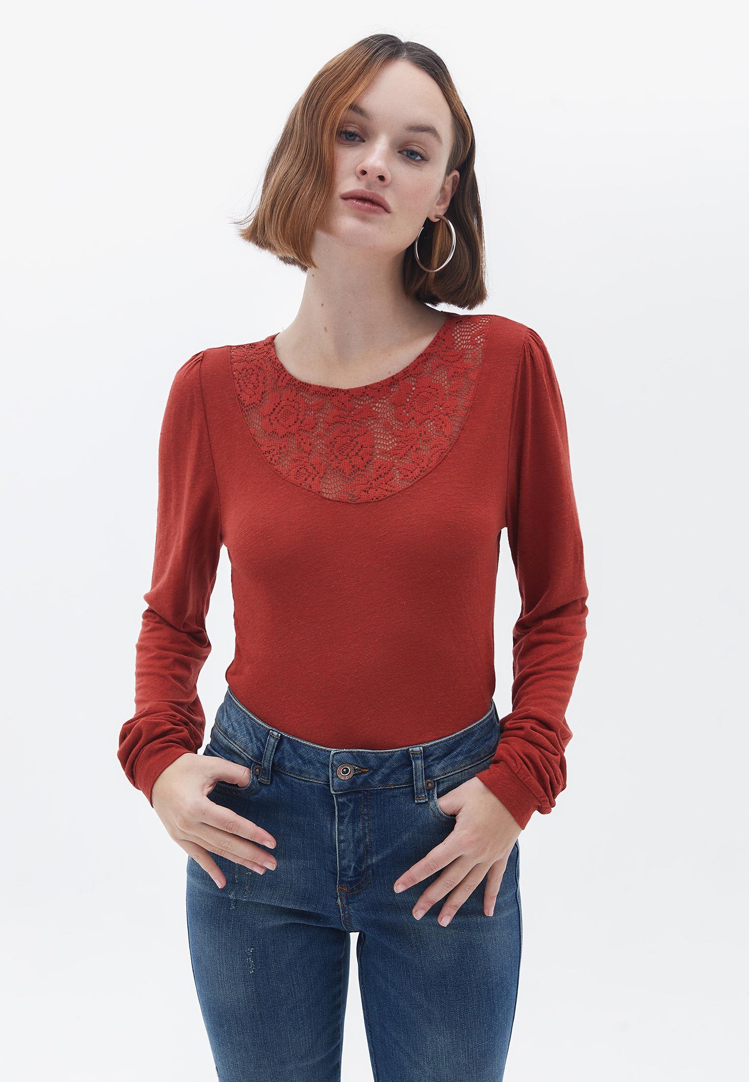Bayan Kırmızı Uzun Kollu Dantel Detaylı Bluz
