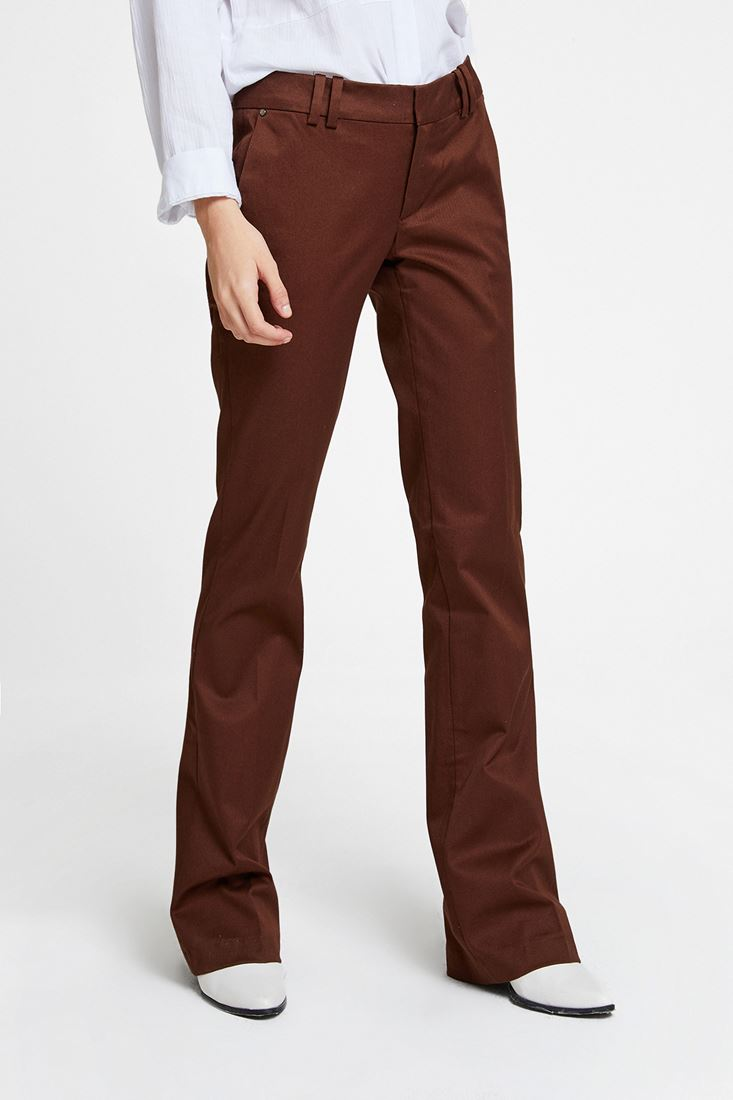 Brown Low Rise Trousers with Details