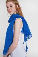 Bayan Mavi Püskül Detaylı Şal