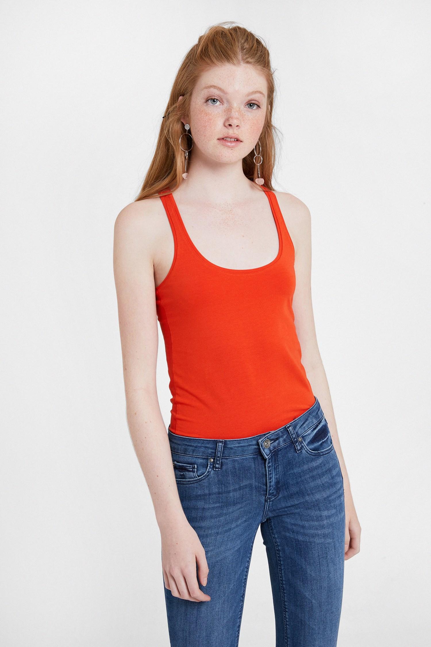 Women Orange Tank