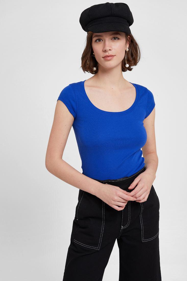 Mavi U Yaka Tişört