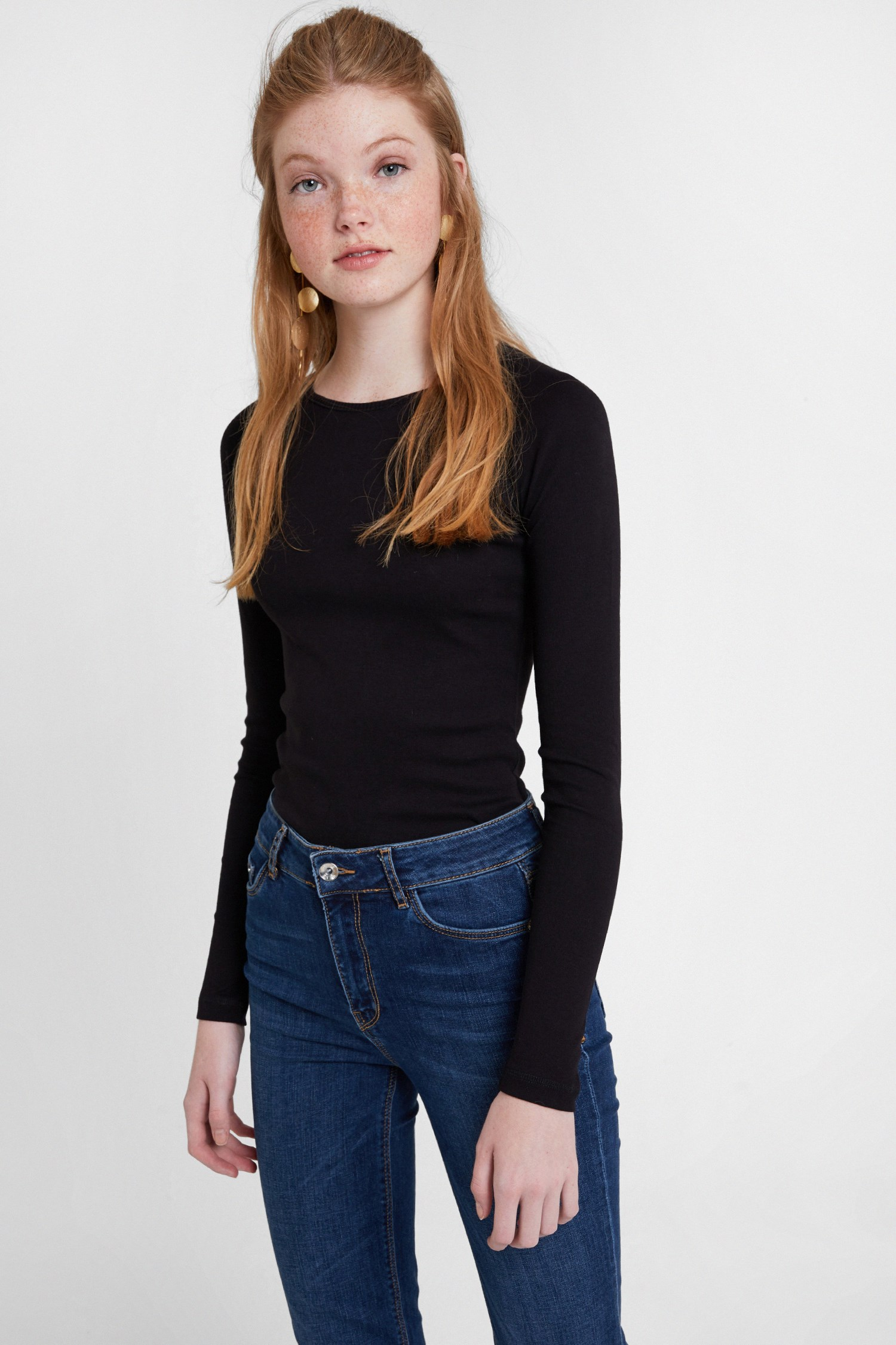 Bayan Siyah Uzun Kollu Tişört
