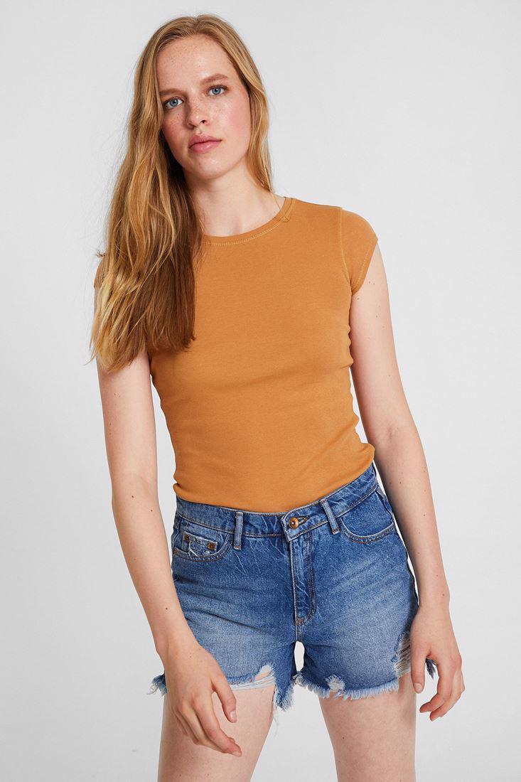 Bayan Kahverengi Bot Yaka Tişört