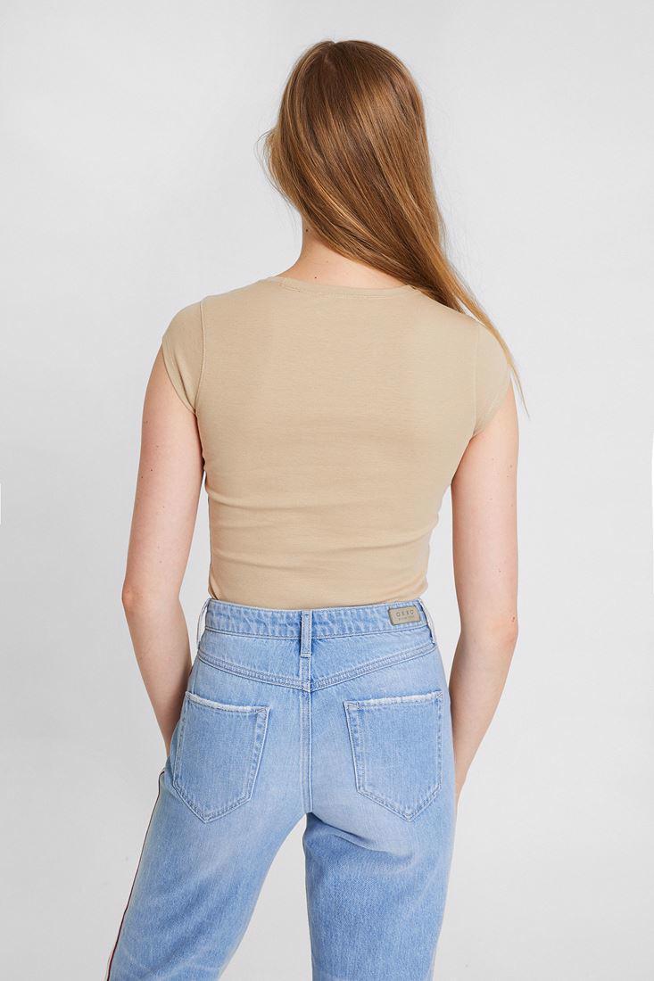 Bayan Krem Bot Yaka Tişört