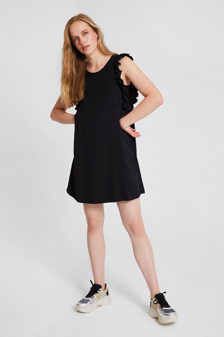 Siyah Kolları Fırfır Detaylı Elbise