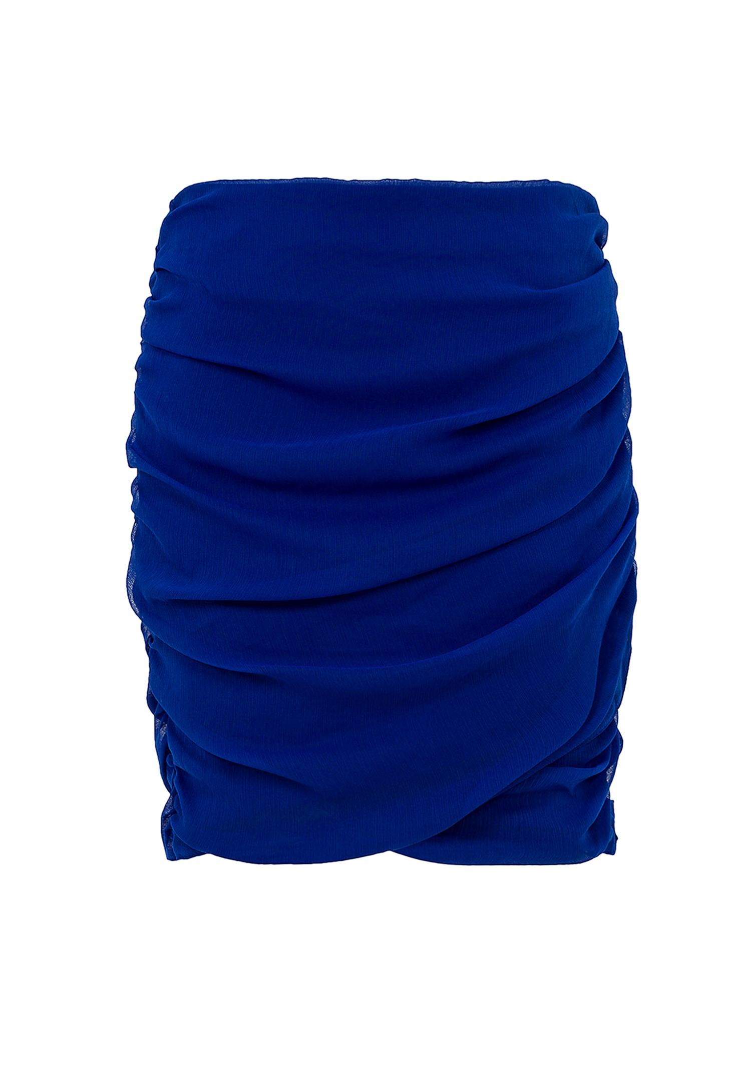 Bayan Mavi Büzgü Detaylı Etek