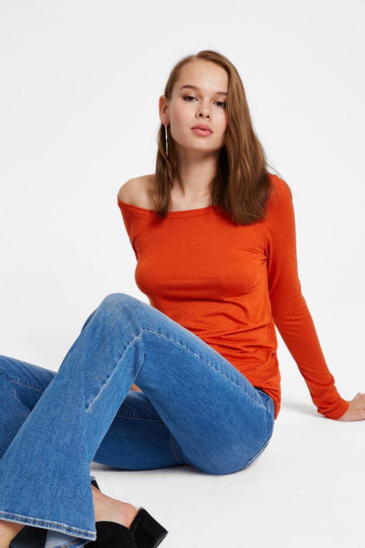 Orange Long Sleeve T-Shirt with Neck Details