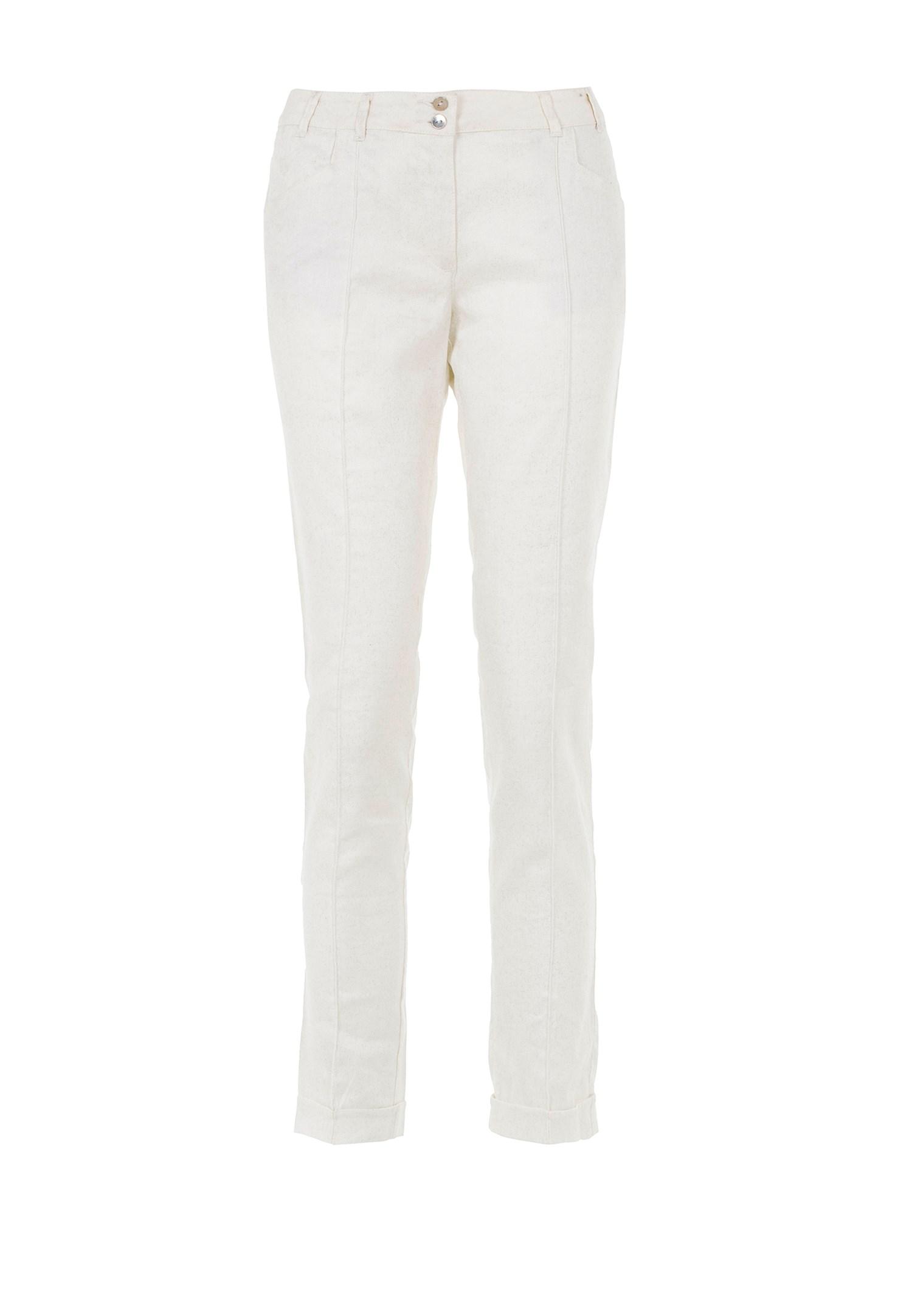 Bayan Beyaz Simli Pantolon