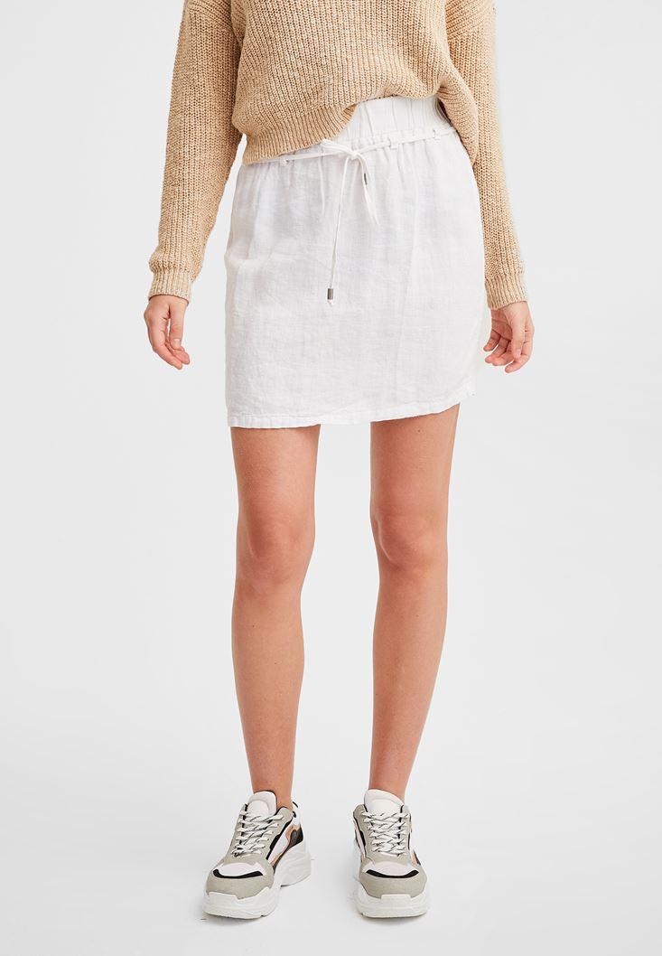 White Elastic Waisted Linen Skirt