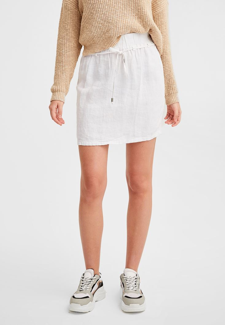 White Elastic Waisted Linen Skirt