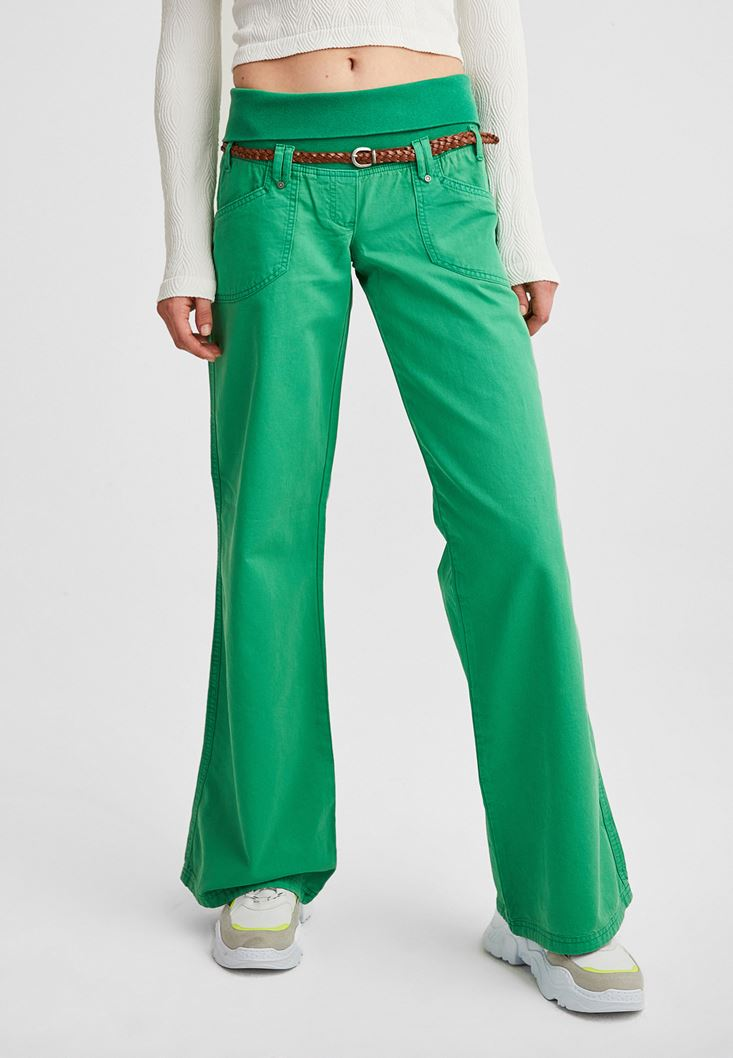 Green Elastic-Waisted Trousers with Belt