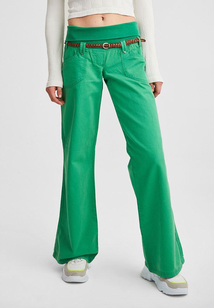 Yeşil Beli Lastikli Bol Paça Pantolon